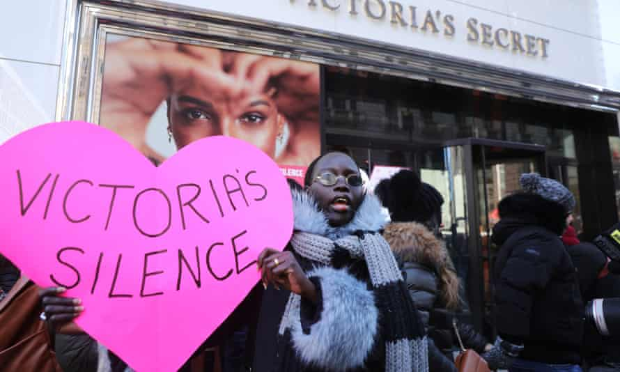 A protest outside Victoria's Secret this month in New York
