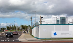 An Apple logo on hoarding boards outside the company's campus in Cork, Ireland.