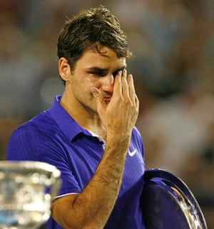 Tennis player Roger Federer crying after being beaten by Rafael Nadal in the 2009 Australian Open