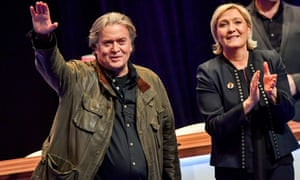 Steve Bannon with Marine Le Pen at at a Front National rally in France.