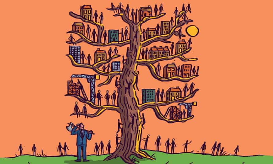 Puzzled man with an axe on his shoulder looks at a tree with buildings and people on every branch