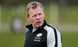 Mark McCall, the Saracens director of rugby, keeps an eye on Tuesday's training session in St Albans.