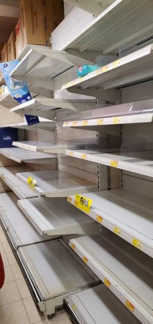 Empty shelves in a Hong Kong supermarket.