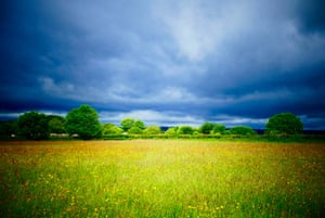 Rainclouds gather over the wild flower meadows