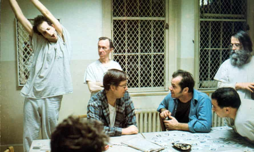One Flew Over the Cuckoo's Nest, with Jack Nicholson (third from right), 1975.