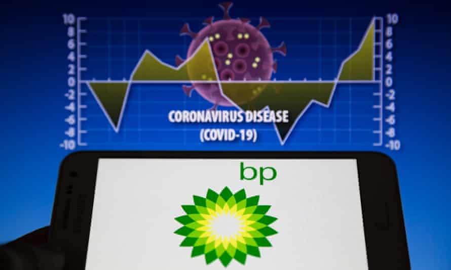 BP logo on phone with covis-19 graph in background