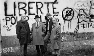 Anthony Price, right, with fellow crime writers Julian Symons, Eric Ambler and Reginald Hill on a visit to Checkpoint Charlie, Berlin, in 1987.
