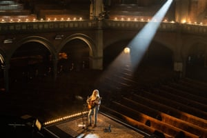 Laura Marling performs a ticketed live-streamed gig in a deserted Union Chapel, London, 6 June 2020.