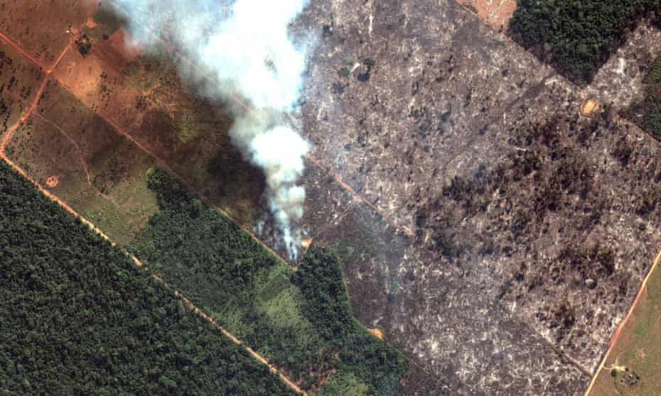 A satellite image shows smoke rising from Amazon forest fires in Rondônia state, Brazil