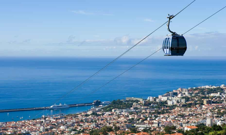 The Monte cable car and Funchal.