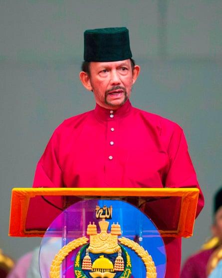 Brunei's sultan Hassanal Bolkiah delivers a speech in April.