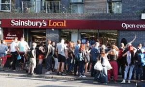 Protesters at the Sainsbury's Local store in Hackney, east London.