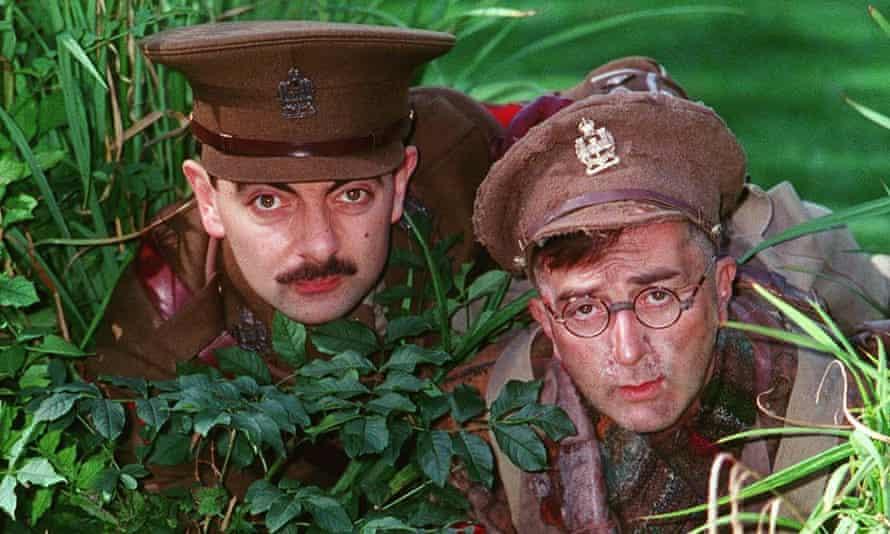 Rowan Atkinson and Tony Robinson in Blackadder, 1989.