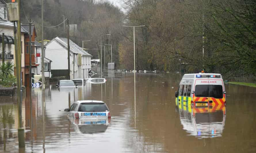 Severe fllooding in Nantgarw, Wales as Storm Dennis hit the UK