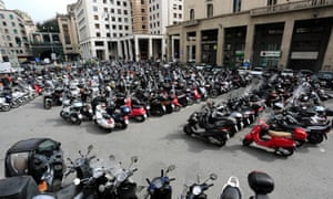 Piazza Ferrari, Genoa. There are an estimated 180,000 motorbikes and scooters in the city.