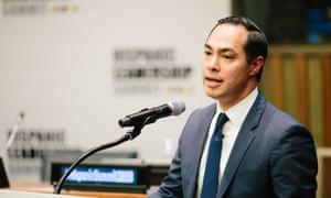 Julián Castro speaks at the Hispanic Leadership summit on Monday at the UN.