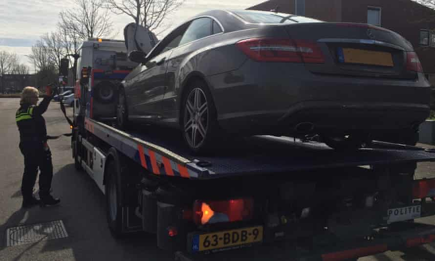A Mercedes car confiscated in the raid by the FOID.