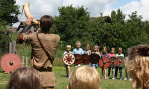 A lesson for kids at Ribe Viking Centre. Denmark.
