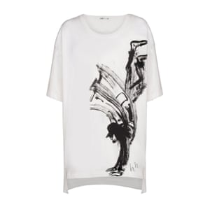 t-shirt with black sketch of person doing a handstand