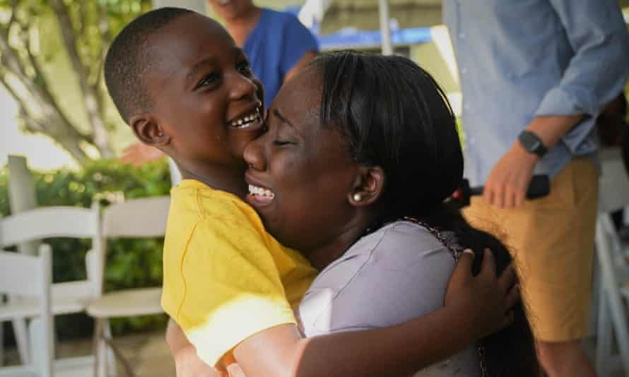 Chrishanti Darishon hugs her son Chrishon in Nassau, Bahamas after he arrived from Abaco where he rode out Hurricane Dorian with his grandmother.