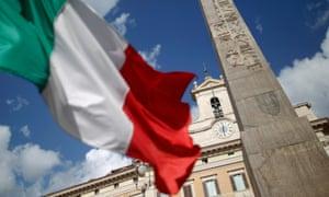 An Italian flag waves in Rome