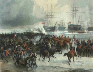 French cavalry gallop across the ice to capture the Dutch fleet in Texel, 1795.