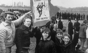 Pickets outside Thoresby colliery in Nottinghamshire during the 1984 miners' strike.