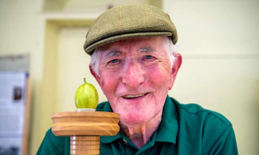 Bryan Nellist poses in a flat cap with his winning gooseberry 'Belmarsh'.