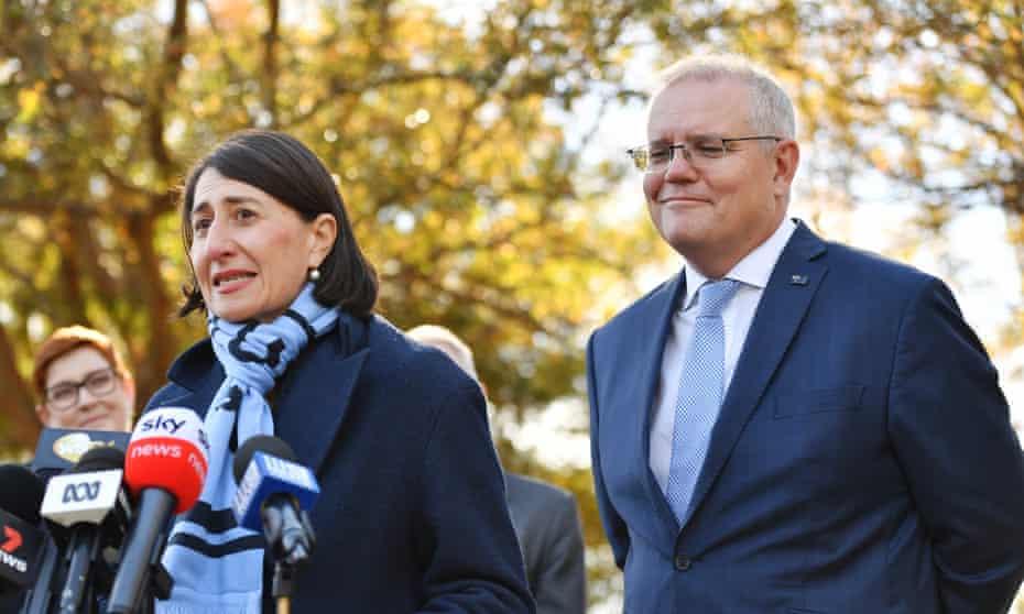NSW premier Gladys Berejiklian and Australian prime minister Scott Morrison