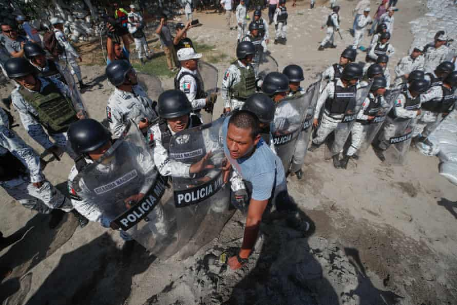 Rocks were thrown during the standoff with Mexican National Guards.