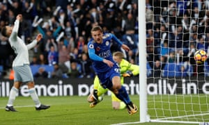Jamie Vardy reels off in celebration after scoring the opener for Leicester City.