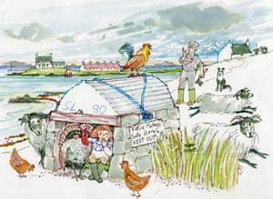 Guardian Christmas card: Katie Morag's Safe House, a Refuge for Turkeys.
