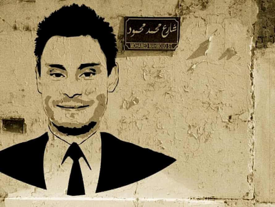 A graffiti mural of murdered Italian student Giulio Regeni in Cairo, Egypt.