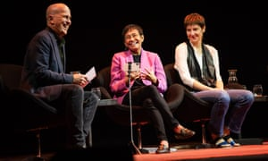 Host Peter Greste (left) with Maria Ressa and with Russian journalist Irina Borogan at the My Crime is Journalism panel at the Antidote festival at the Sydney Opera House on Sunday.