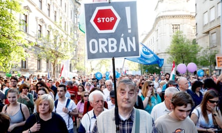 A protest against the Orbán government in Budapest, April 2018