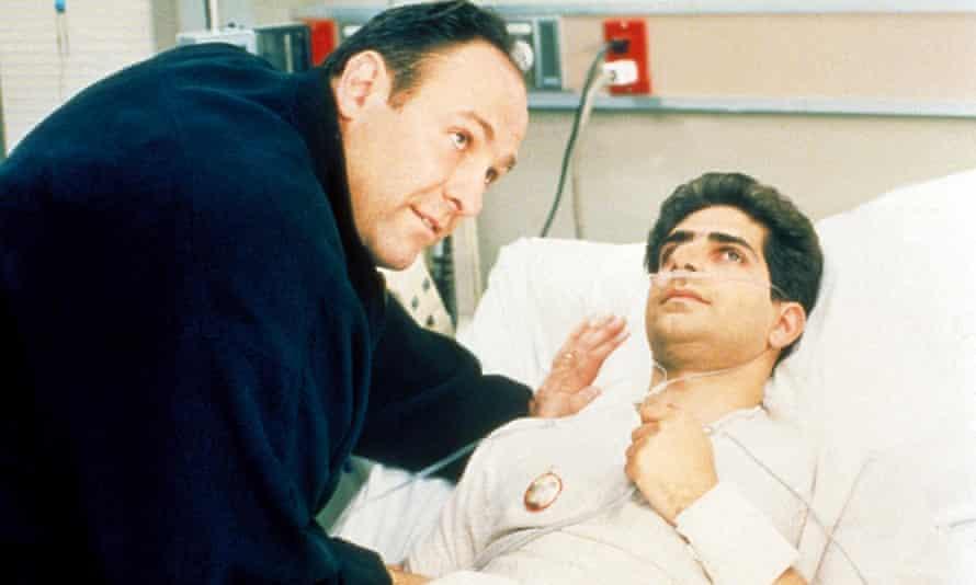 James Gandolfini as Tony Soprano and Michael Imperioli as Christopher Moltisanti in The Sopranos.