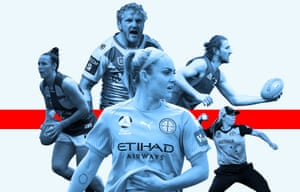 Ellie Carpenter of Melbourne City, James Graham of the Dragons, Georgia Wareham of Australia, Ashlee Atkins of the Eagles, Marcus Bontempelli of the Western Bulldogs