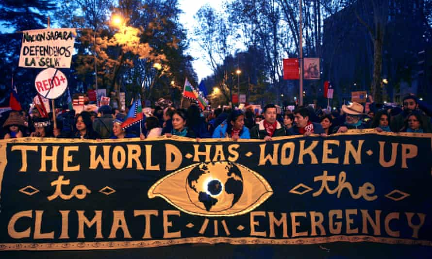 Climate protesters at the Cop25 summit in Madrid