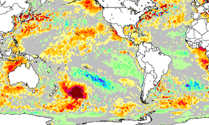 The hot blob off the NZ coast, seen here as a patch of dark red east of New Zealand