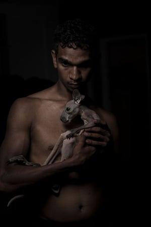 A man holds a kangaroo joey