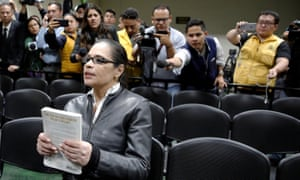 Guatemala's former vice-president Roxana Baldetti in court after she was found guilty of guilty of fraud, illicit association and peddling influence over a government contract on Tuesday.