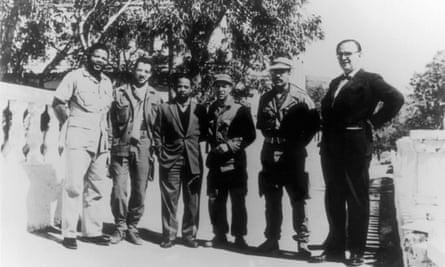 Nelson Mandela, left, stands with the commanders of the Algerian Army in 1962.