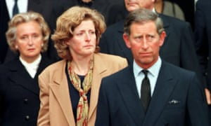 Prince Charles in France with Lady Jane Fellowes to bring home the body of Diana, Princess of Wales.
