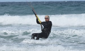 Richard Branson finds kite surfing a relaxing way to escape work pressures.