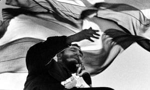 Fidel Castro speaking in Chile, 1972.