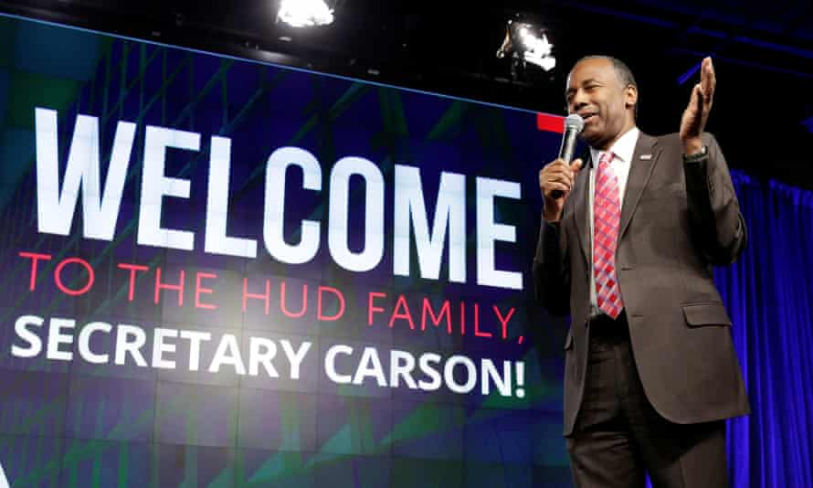 Secretary of Housing and Urban Development Ben Carson speaks to employees in March 2017.