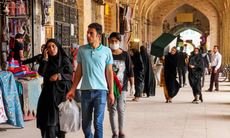 Shoppers in the south-eastern city of Kerman on Saturday