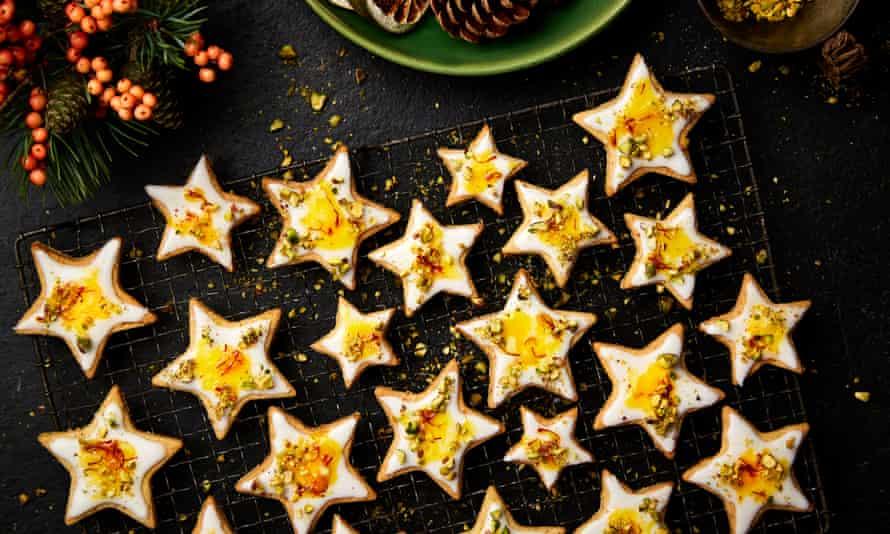 Yotam Ottolenghi's orange and saffron shortbread stars.