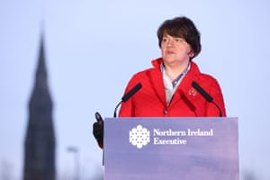 Handout photo of First Minister Arlene Foster during a news conference at the 'Hill of the O'Neill' in Dungannon, Co Tyrone following the Northern Ireland Executive meeting, on 28 January, 2021.