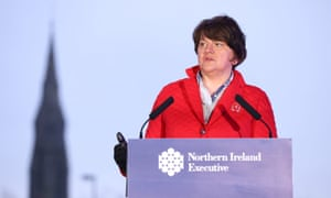 First Minister Arlene Foster during a news conference at the 'Hill of the O'Neill' in Dungannon, Co Tyrone following the Northern Ireland Executive meeting.
